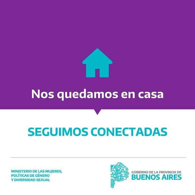 El Ministerio de las Mujeres, Políticas de Género y Diversidad de la Provincia de Buenos Aires les dice a las mujeres que sufren violencia doméstica que pueden llamar al 144 para pedir ayuda.