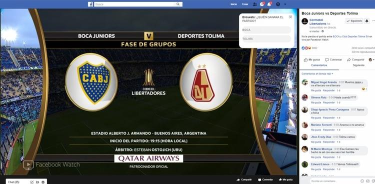 El martes, Boca contra Deportes Tolima también se transmitió por straming.