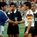 EDITORIAL USE ONLY Mandatory Credit: Photo by Imago/Shutterstock (8473653p) Argentina's Diego Maradona (l) Shakes Hands with West Germany's Lothar Matthaus Prior to the Start of the 1990 World Cup Final File Photo Dated 8/7/1990 File Photos of Diego Maradona - 09 Nov 2010