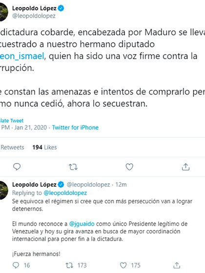 Los dos tuits de Leopoldo López sobre la detención de Ismael León