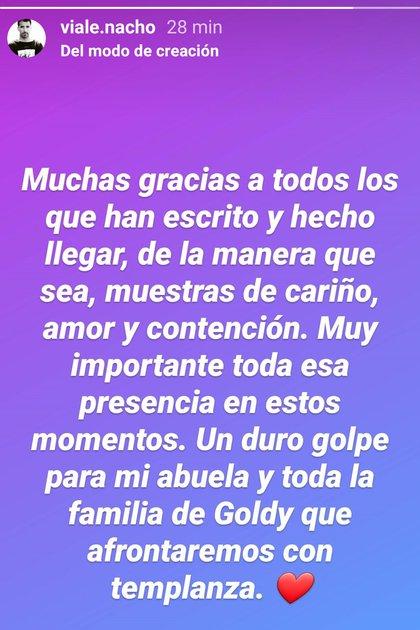 Nacho, además, les agradeció a sus seguidores el apoyo que le manifestaron a su abuela (Foto: Instagram)