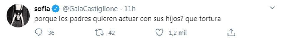 Tuits de Sofia Gala en contra de Claribel Medina