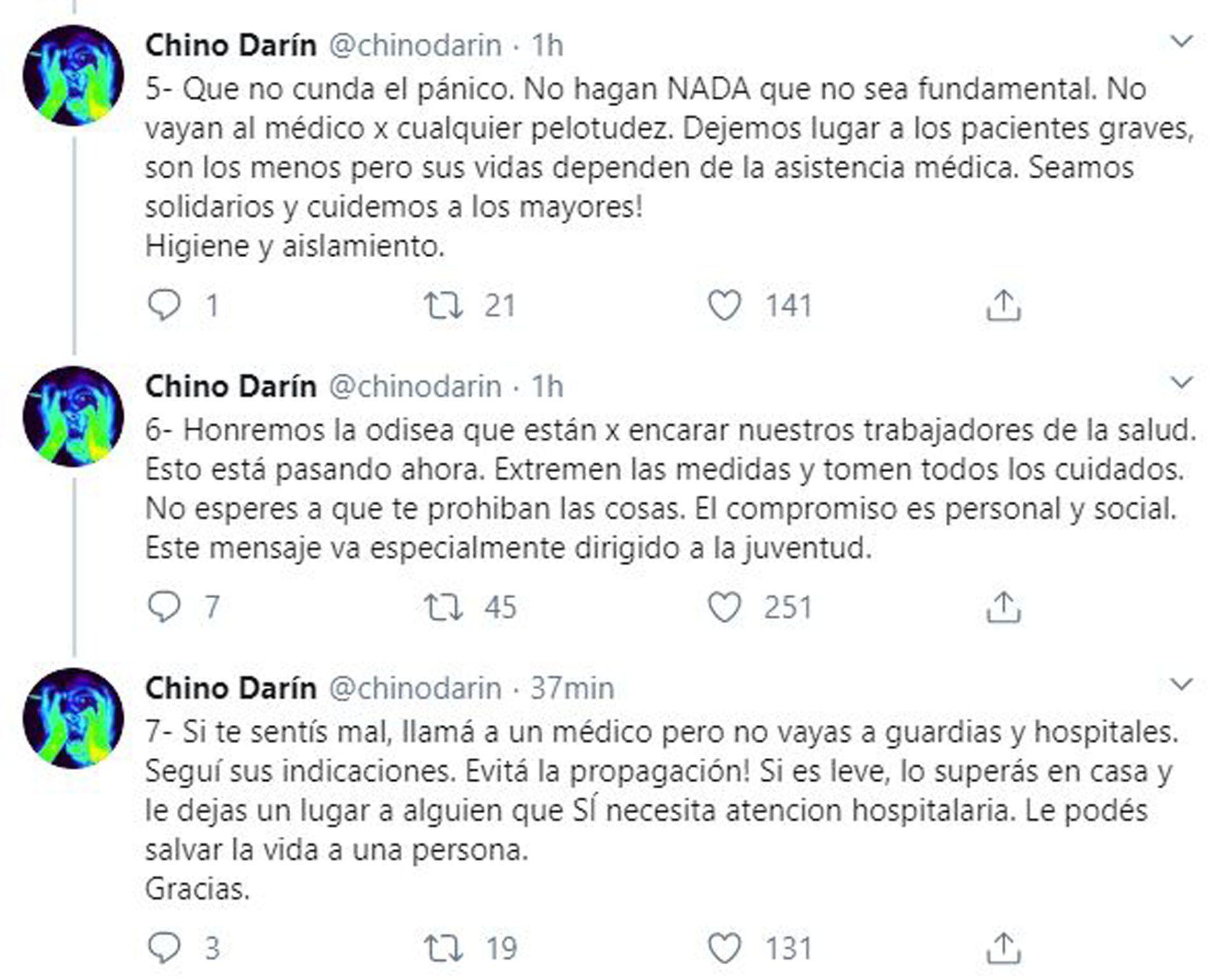 Los mensajes del Chino Darín sobre el coronavirus (Fotos: Twitter)