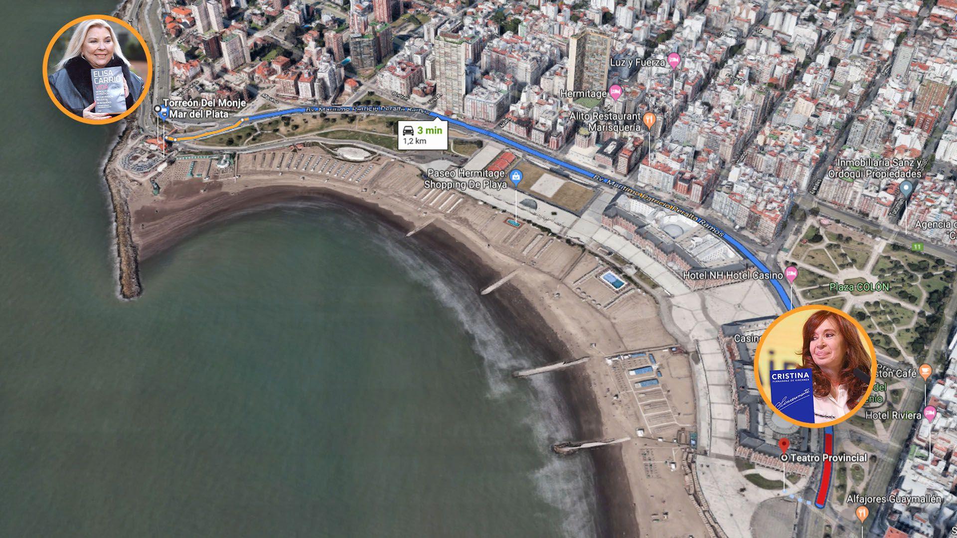 Cristina Kirchner y Elisa Carrió estarán a penas 16 minutos de distancia a pie en Mar del Plata.