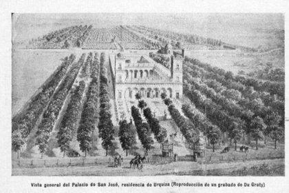 El Palacio San José, tal cual se veía en la época en que vivía Urquiza. (Revista San José)