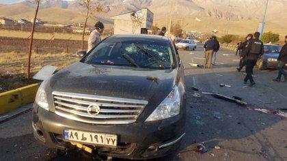 El auto en el que viajaba Fajrizadeh (EFE)