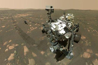 08/04/2021 Perseverance con Ingenuity antes del primer vuelo a motor en otro mundo.  El rover Perseverance de la NASA en Marte usó una cámara en el extremo de su brazo robótico para tomar esta foto de sí mismo con el helicóptero Ingenuity cerca.  POLITICA INVESTIGACIÓN Y TECNOLOGÍA NASA/JPL-CALTECH/MSSS