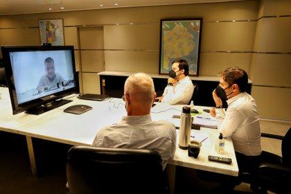 Kicillof en reunión virtual con intendentes (Gobierno PBA)