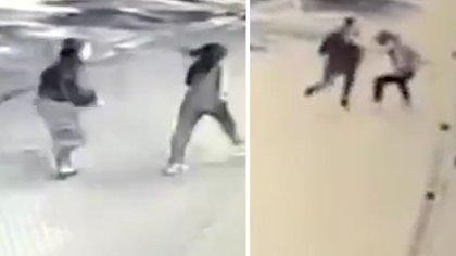 Imágenes captadas por las cámaras de seguridad de la zona donde se puede observar el ataque sufrido por la víctima