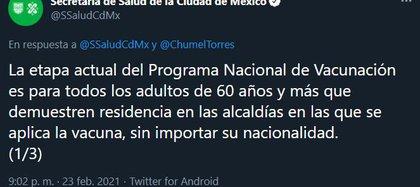 La Secretaría de Salud de la capital respondió a los señalamientos (Foto: Twitter@SSaludCdMx)