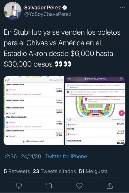 Chivas venderá sus boletos a las 6:00 pm del martes (Foto: Twitter @ Yosoy Chavaparez)