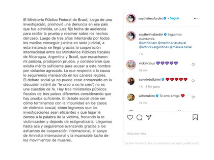 El comunicado que Thelma Fardín compartió en su Instagram
