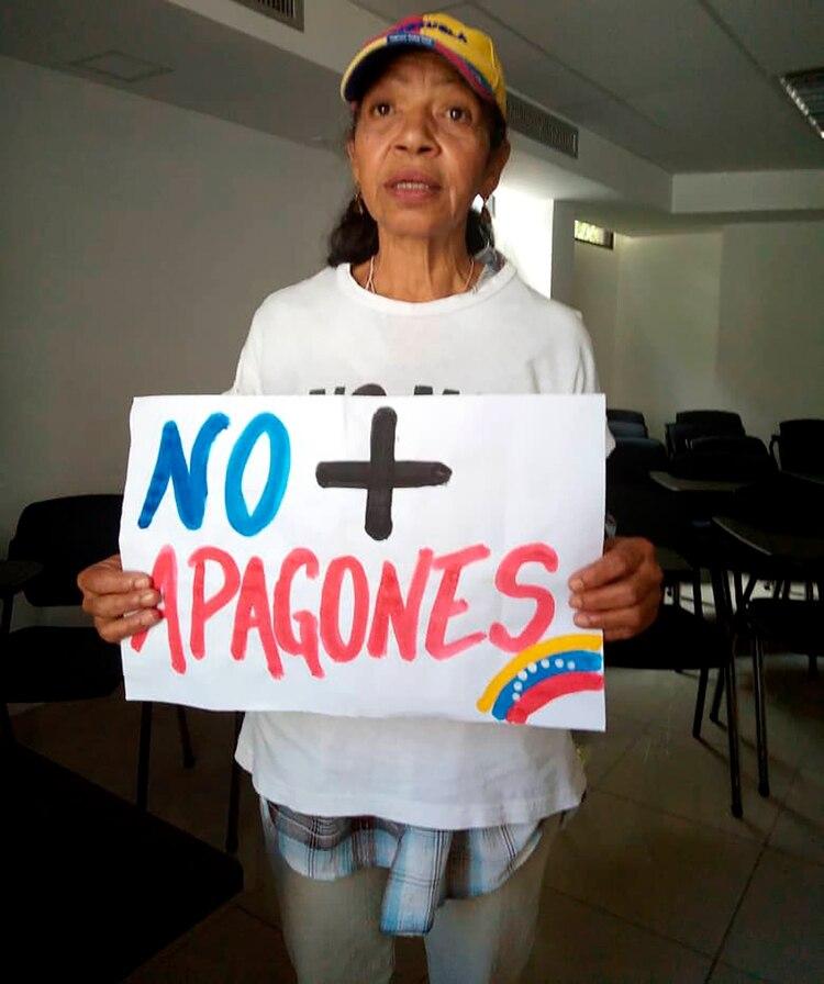 Ana Pompa, víctima del apagón en Caracas