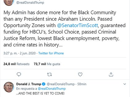 Tuit del presidente Donald Trump