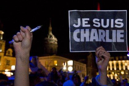"""""""Yo soy Charlie"""", el mensaje que se popularizó en las movilizaciones tras el ataque terrorista (AFP)"""