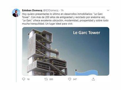 El tuit inicial del hilo en que Domecq analiza la Argentina como un edificio con un extraño consorcio