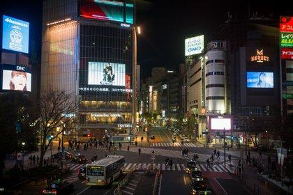 Un passage à Shibuya vendredi dernier après l'entrée en vigueur du deuxième état d'urgence au Japon à Tokyo et dans les préfectures environnantes.