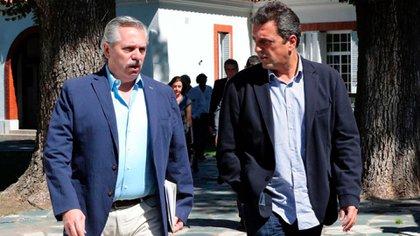 Sergio Massa junto a Alberto Fernández