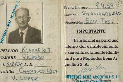 El documento con el nombre falso de Ricardo Klement que Adolf Eichmann usó en la Argentina (Yad Vashem)