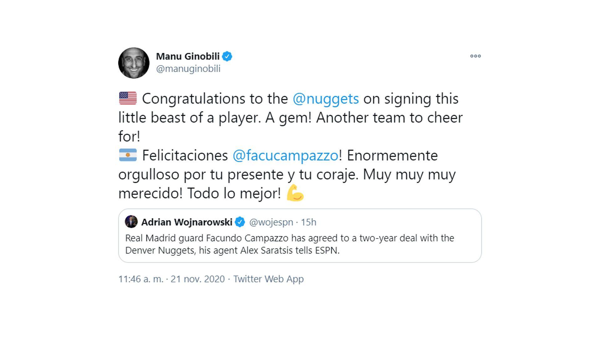 Manu Ginobili saludo a Campazzo