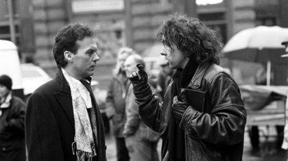 Tim Burton detrás de escena con Michael Keaton
