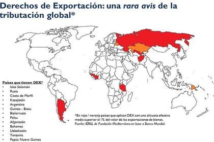 El mapa ilustra la naturaleza excepcional de los impuestos a la exportación en todo el mundo.  Es casi tan excepcional como la inflación en Argentina