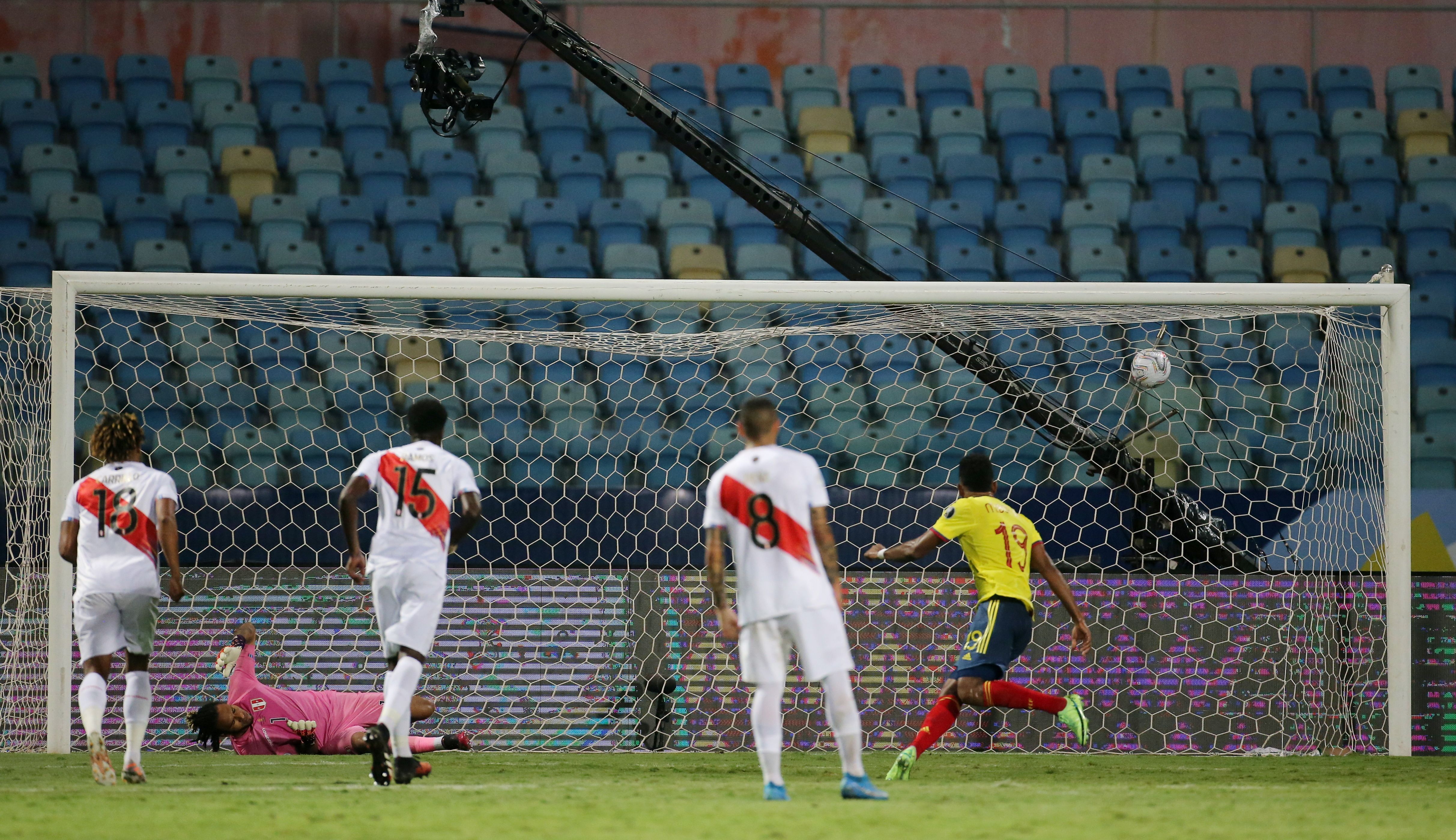 Soccer Football - Copa America 2021 - Group B - Colombia v Peru - Estadio Olimpico, Goiania, Brazil - June 20, 2021 Colombia's Miguel Borja scores their first goal from the penalty spot REUTERS/Diego Vara