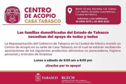 Centro de acopio (Foto:Twitter@CasaTabascoCDMX)