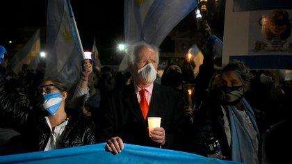 Juan Carlos Blumberg participó de la concentración frente a Tribunales
