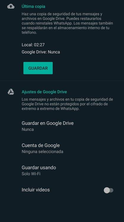 Para recuperar el historial de chats será necesario haber activado previamente el almacenameinto en Google Drive.