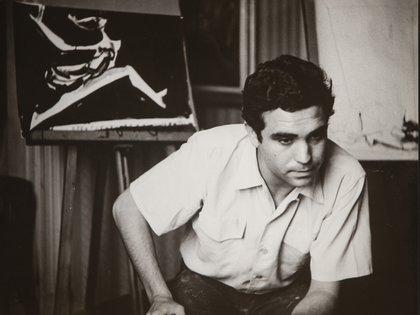 Retrato del artista Carlos Alonso en su estudio, 1958