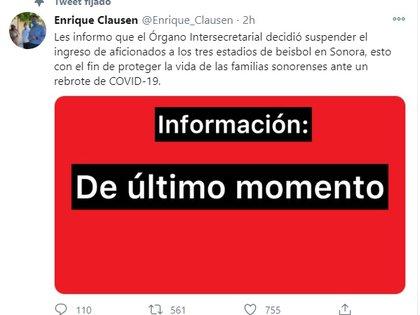 La Secretaría de Salud de Sonora suspendió al acceso de público a los estadios de béisbol (Foto: Twitter@Enrique_Clausen)