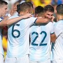 Argentina's midfielder Lucas Alario (2R) celebrates with teammates after scoring during the International Friendly football match against Ecuador at the Martinez Valero stadium in Elche, on October 13, 2019. (Photo by JOSE JORDAN / AFP)