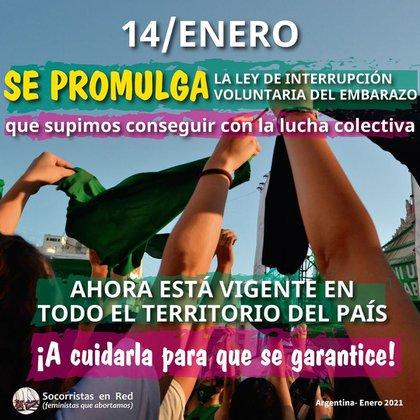 El 14 de enero se promulgó la Ley de Interrupción Voluntaria del Embarazo con un acto en la Casa Rosada. Socorristas en Red pide que se garantice el acceso a la norma.
