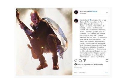 El posteo de Fernando Ruíz Díaz despidiendo a Gabriel