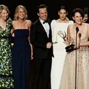 LOS ANGELES, CALIFORNIA - SEPTEMBER 22: Phoebe Waller-Bridge (speaking) and fellow cast and crew members of 'Fleabag' accept the Outstanding Comedy Series award onstage during the 71st Emmy Awards at Microsoft Theater on September 22, 2019 in Los Angeles, California. Kevin Winter/Getty Images/AFP