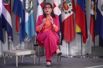 25/03/2021 La secretaria general iberoamericana, Rebeca Grynspan, interviene durante un encuentro digital de Europa Press, en la sede de la Secretaría General Iberoamericana, en Madrid (España), a 25 de marzo de 2021. POLITICA Eduardo Parra - Europa Press