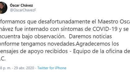 Óscar Chávez fue hospitalizado por síntomas de coronavirus (Foto: Twitter/ @OscarChavezF)