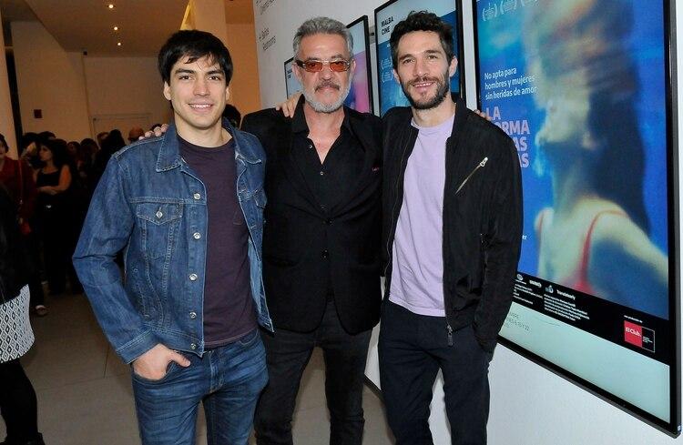 Agustín Sullivan, Jean Pierre Noher y su hijo, Michel, en la presentación de