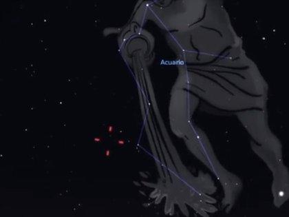 Las líneas rojas indican la posición de Neptuno el 11 de septiembre