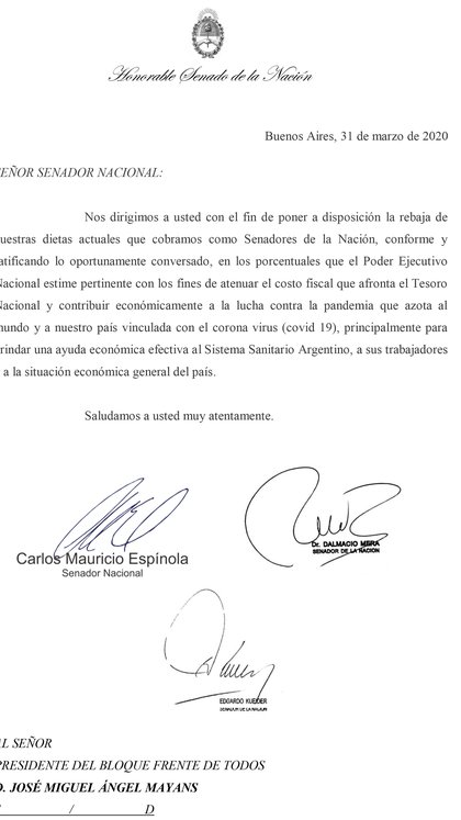 El pedido y ofrecimiento de tres senadores peronistas para donar sus diestas