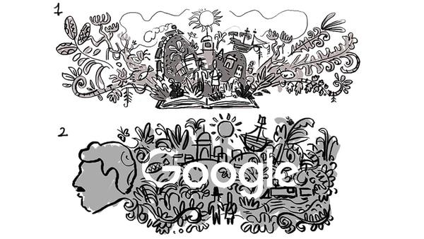 Borradores de los diseños del doodle con el que que Google celebra el nacimiento del escritor colombiano Gabriel García Márquez