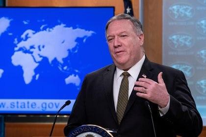 Secretario de Estado de EEUU Mike Pompeo en conferencia de prensa