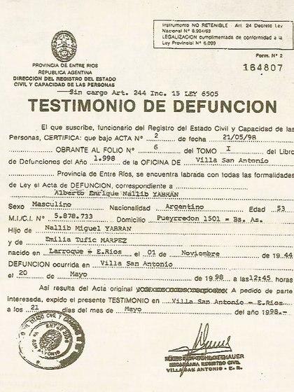 El documento oficial que certifica la muerte de Yabrán