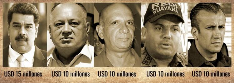 Nicolás Maduro, Diosdado Cabello, Hugo Carvajal, Cliver Alcalá Cordones y Tareck El Aissami, los 5 jerarcas del régimen chavista por los que el gobierno estadounidense ofreció una recompensa.