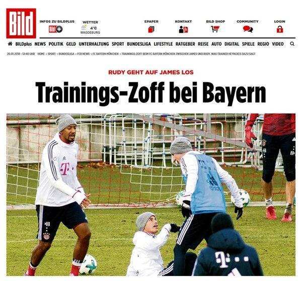 El diario alemán Bild informó de la pelea ante James Rodríguez y Sebastian Rudy en el entrenamiento del FC Bayern