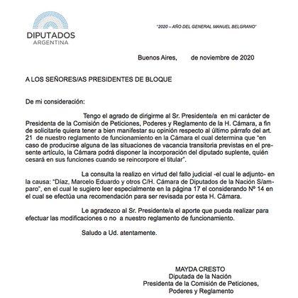 La nota enviada el pasado viernes por la presidenta de la Comisión de Peticiones, Poderes y Reglamento, Mayda Cresto, a los presidentes de los bloques.
