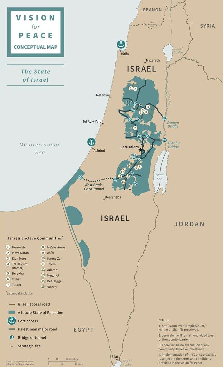 El detalle de los nuevos territorios que serían entregados a Palestina, y aquellos de la Cisjordania que serían incorporados por Israel