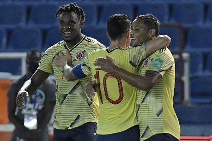 El combinado colombiano se enfrentará a Uruguay por la tercera fecha de las eliminatorias. Llega con una victoria ante Venezuela y luego de empatar con la selección chilena. EFE/Gabriel Aponte