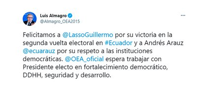 Luis Almagro felicitó a Lasso